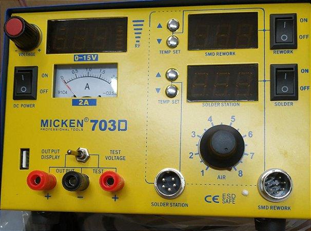 Estação de Solda  Micken + Retrabalho + Fonte 3x1 703d 220v