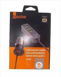 CARREGADOR RÁPIDO VEICULAR COM ADAPTADOR USB BASIKE CAR0045