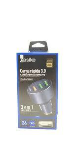CARREGADOR RÁPIDO VEICULAR  3.0 BASIKE BA-CAR0086