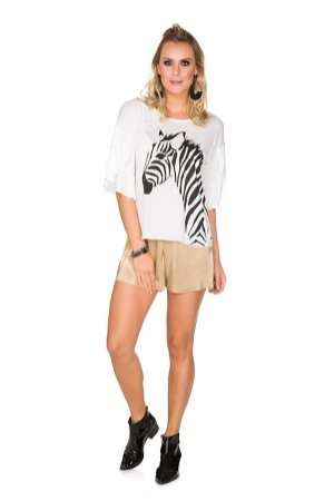Blusa Off White Babados Via Costeira com Estampa Zebra