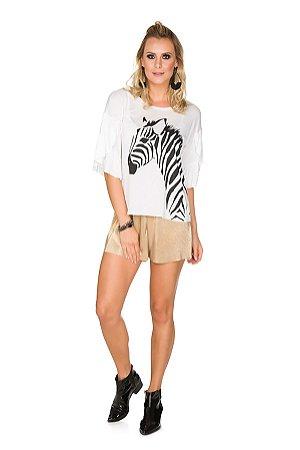 Blusa Via Costeira com Babados e Estampa Zebra Feminina