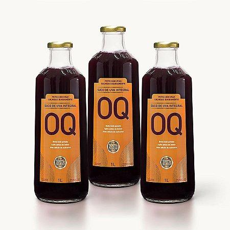 Suco de Uva Integral OQ | 1litro | Caixa 3 Garrafas