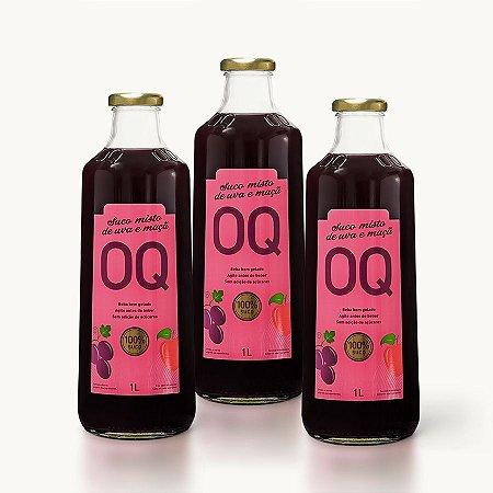 Suco Misto de Frutas OQ | Uva + Maçã | 1 Litro | Caixa 3 Garrafas