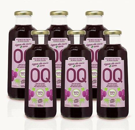 Suco Misto de Frutas OQ | Uva + Água de Coco | 500ml | Caixa 6 Garrafas