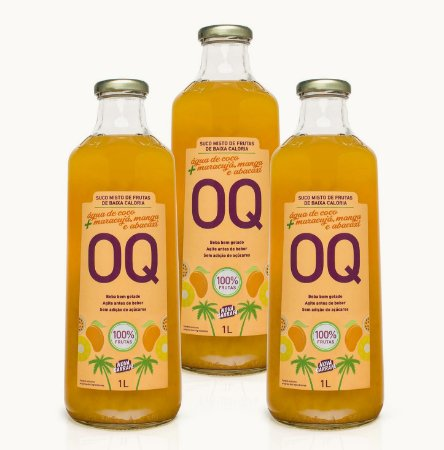 Suco Misto de Frutas de Baixa Caloria OQ | Água de Coco + Frutas Tropicais | 1 Litro | Caixa 3 Garrafas