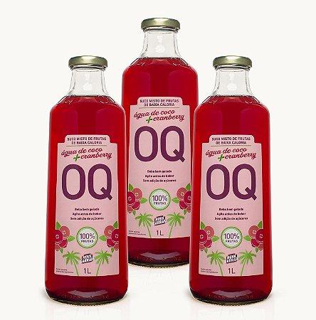 Suco Misto de Frutas de Baixa Caloria OQ | Água de Coco + Cranberry | 1 Litro | Caixa 3 Garrafas
