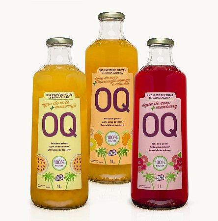 Água de Coco + Frutas OQ | Cranberry | Maracujá | Frutas Tropicais | 1 Litro | Caixa 3 Garrafas