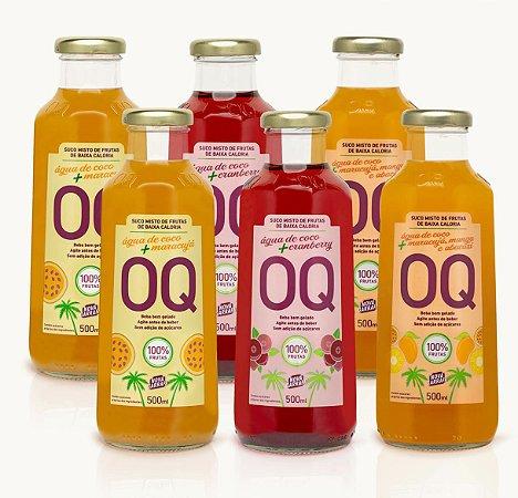 Água de Coco + Frutas OQ | Cranberry | Maracujá | Frutas Tropicais | 500ml | Caixa 6 Garrafas