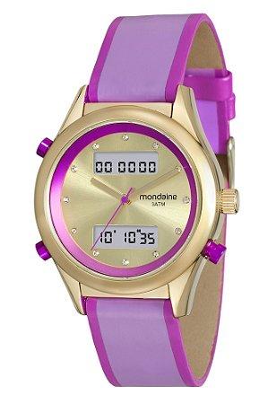 0dfa605cf48b0 Relógio Mondaine Feminino nas Cores Rosa Lilás e Dorado e Pulseira em Couro