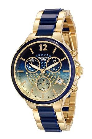 3ecbaa70c4a1a Relógio Mondaine Feminino em Aço nas cores Azul e Dourado - Pollock ...