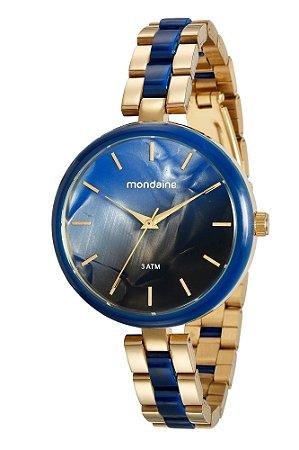 f4f348c673a39 Relógio de Pulso Mondaine Feminino Azul com Dourado - Pollock ...