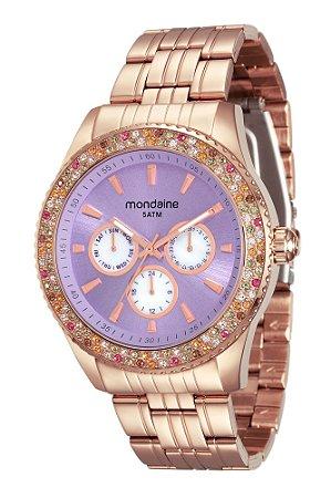 64fb49a2cc4 Relógio Feminino Mondaine Rosé Gold com Pedras Brasileiras e Pulseira de Aço