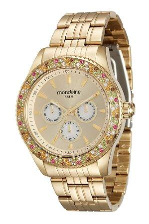 96610178fff69 Relógio Mondaine Feminino Dourado com Pedras Brasileiras - Pollock ...
