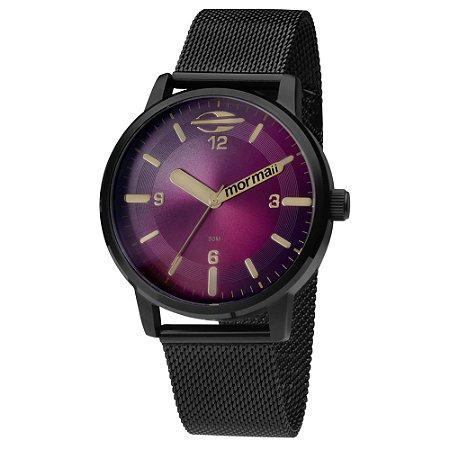 2081d8fe65187 Relógio Mormaii Feminino de Aço na cor Preta e mostrador Roxo ...