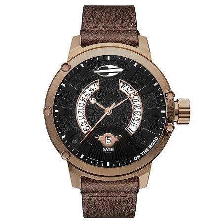 6b027e836cbed Relógio Masculino Mormaii de Aço Inoxidável com Pulseira de Couro Marrom
