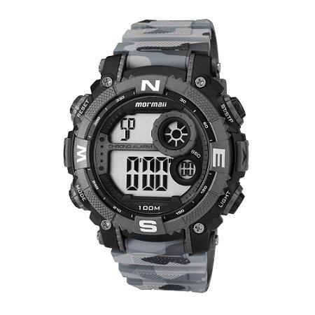 f7f0d6208bc57 Relógio Digital Mormaii Masculino Camuflado Cinza com detalhes Escuros