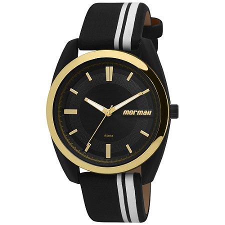 11e215c215a Relógio Mormaii Feminino Preto com detalhes Dourados e Pulseira Listrada
