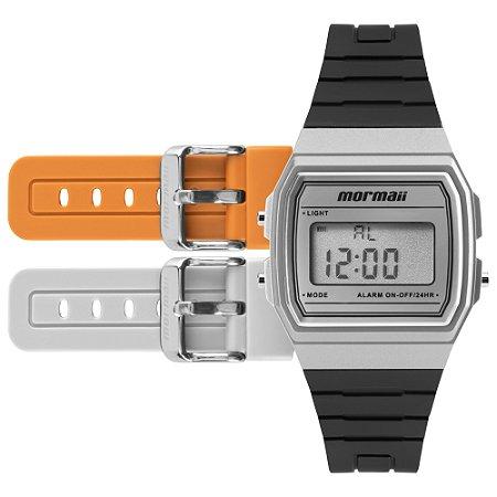 30ab0624ed70b Relógio Digital Mormaii Acquarela com 3 Pulseiras nas Cores Preto, Cinza e  Laranja