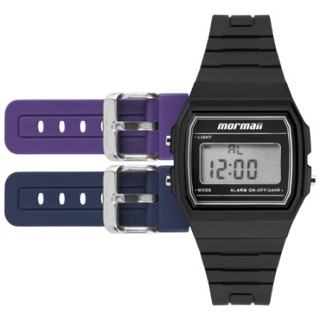 d1b162a5f6b60 Relógio Digital Mormaii Acquarela com 3 Pulseiras nas Cores Preto ...
