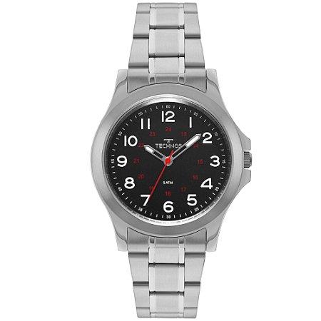 11c66029bb6 Relógio Technos Masculino em Aço Inoxidável com detalhes em Preto e Vermelho