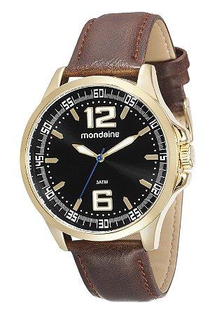 82c31ba3af6c0 Relógio Mondaine Masculino com pulseira de Couro e caixa em Aço Dourado e  detalhes em Preto