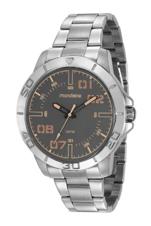 3c4450c718d6d Relógio Mondaine Masculino em Aço Prata com mostrador Cinza Escuro com  Bronze