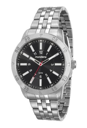 cc2328796e7 Relógio Mondaine Masculino em Aço Prata e mostrador Preto - Pollock ...