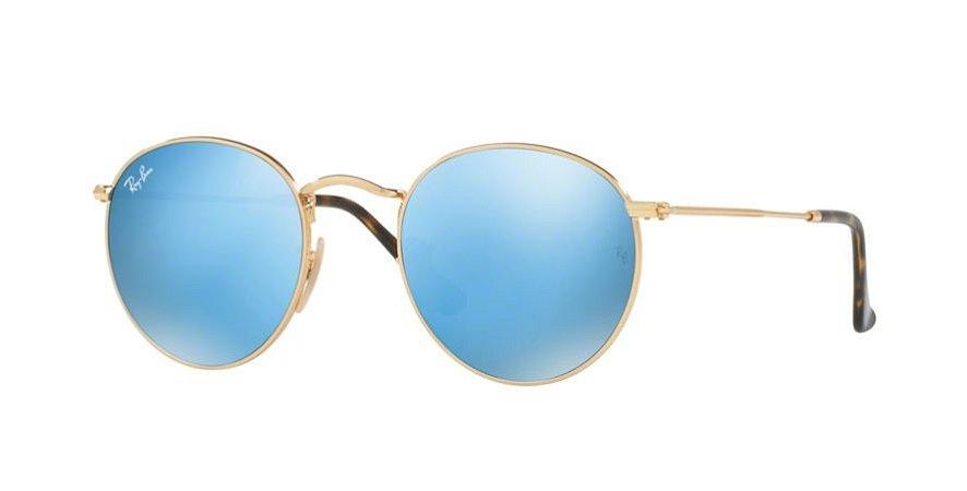 48c3353b32948 Óculos de Sol Ray-ban Redondo - Round Metal de Armação Dourada e Lentes  Espelhadas