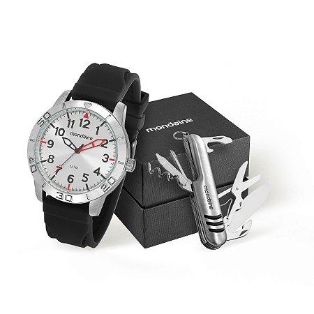 a9a07586e28 Conjunto de Relógio Mondaine Masculino Preto em Aço + Canivete ...