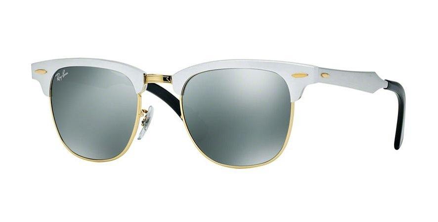 d117255b88a19 Óculos de Sol Ray-ban Clubmaster de Lentes Prata Espelhadas - Aluminum -  Alumínio -