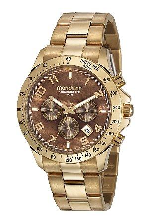 62aa9b79951 Relógio Mondaine Dourado Com Mostrador Marrom - Cronógrafo - Pollock ...