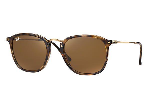 45dd9a80d3c65 Óculos Ray-ban Quadrado Marrom Oncinha Com Hastes em Aço RB2448N710 ...