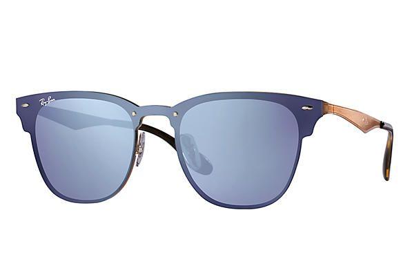 e3250ab323a81 Óculos de Sol Ray-ban Blaze Azul - Lilás Espelhado Estilo Máscara ...
