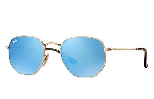 f276a9f009a463 Óculos de Sol Ray-ban Hexagonal Flat Lenses - Dourado com Lentes Espelhadas  Azuis -