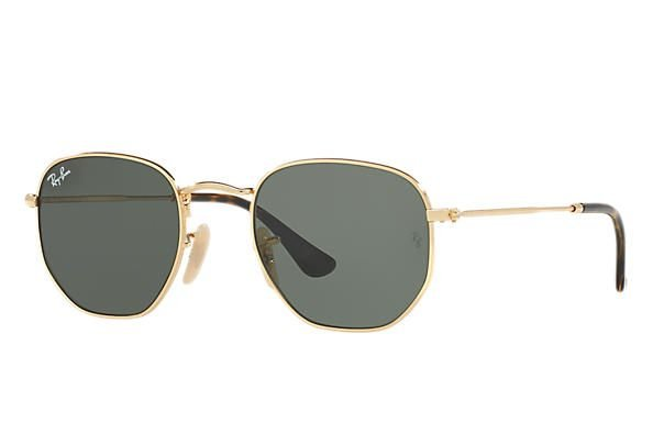 2f6410b7c032b Óculos de Sol Ray-ban Hexagonal Flat Lenses - Dourado com Lentes Verde  Clássica G