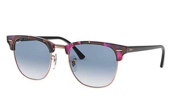 4998100f0e01a Óculos de Sol Ray-ban Clubmaster Fleck Armação Spotted Grey And Violet -  cinza e