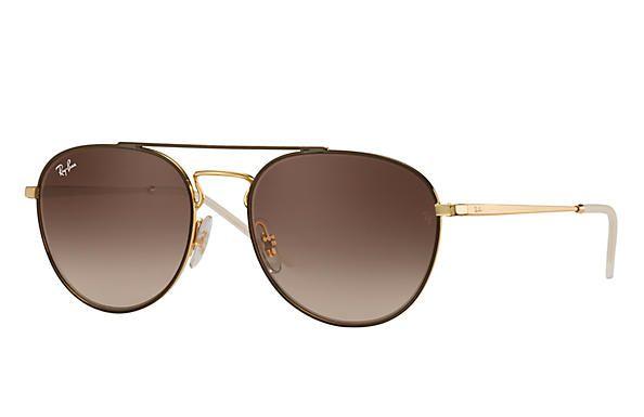 9d7f03f528270 Óculos de Sol Ray-ban Redondo - Oval - Metal - Marrom e Dourado ...