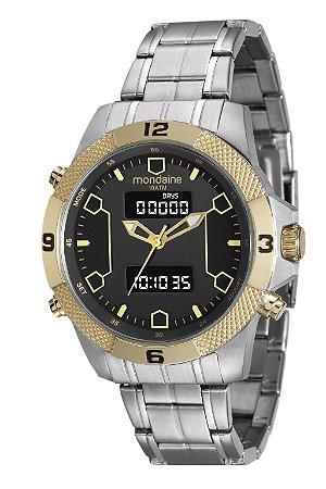 b0c64e18c2a5d Relógio Masculino Mondaine Analógico e Digital - Anadigi - Caixa e pulseira  em aço com acabamento em dourado ...