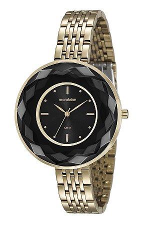 16467754078 Relógio Feminino Mondaine Analógico em Aço Dourado com Acabamento Preto e  Vidro Bisotê-Facetado -