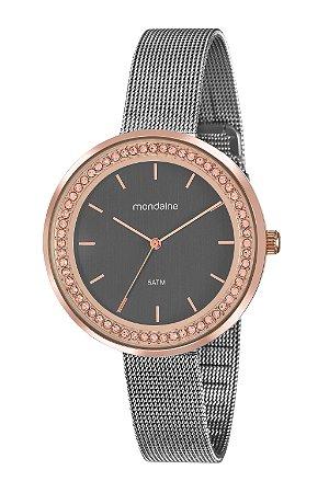 55b8833de84 Relógio Feminino Mondaine Analógico Rose-Gold Cravejado com Zircônias e  Pulseira Estilo Esteira na Cor