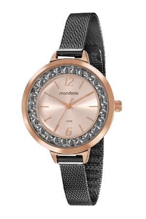 d01f79f2960 Relógio Feminino Mondaine Rose-Gold de Pulseira estilo Esteira e Mostrador  decorado com Detalhe em