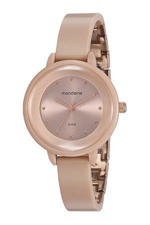 4ed7d3cef5b Relógio Feminino Mondaine Nude-Rose-Gold estilo Bracelete Super Leve e com  Vidro Convexo