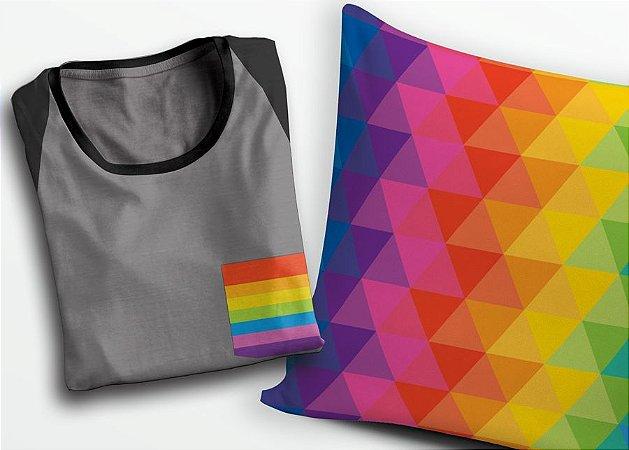 Combo PRIDE - Camiseta Bolsinho do amor + Almofada PRIDE com enchimento