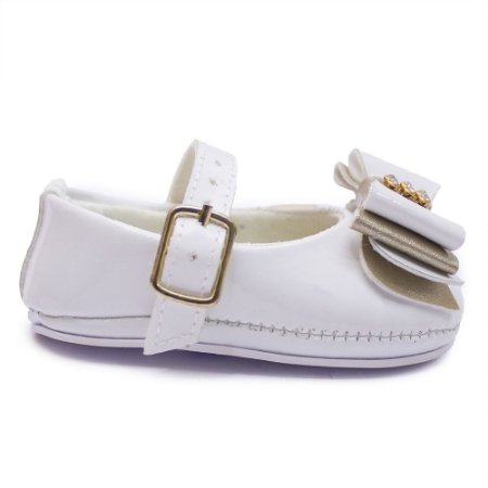 Sapato bebê feminino Cla Cle Laço Branco