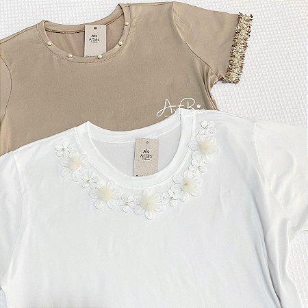Tshirt Renda com Pérolas