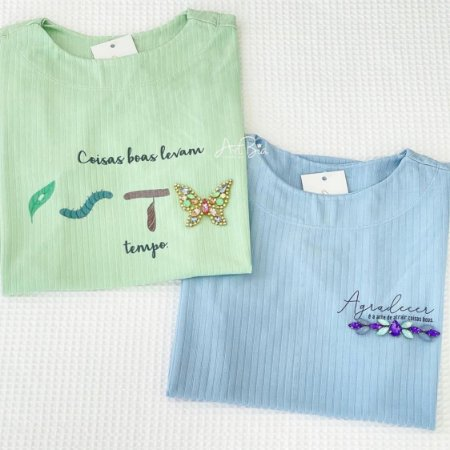 Tshirt Coisas boas e Agradecer Canelada