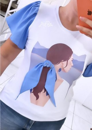 Tshirt Girl Lenço Azul