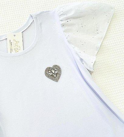 Tshirt Coração Strass