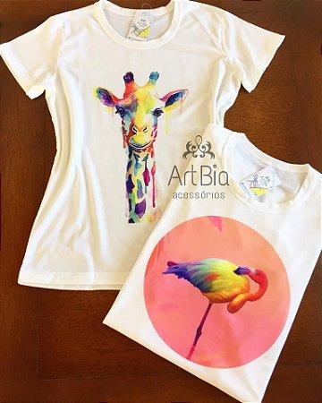 Tshirt Girafa aquarela