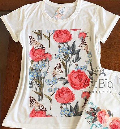 Tshirt floral borboletas